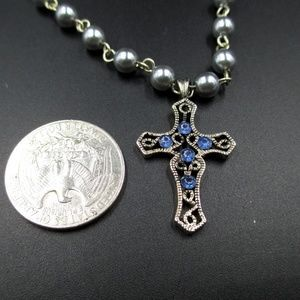 Jewelry - 21 Inch Silver Cross With Blue Crystals Necklace